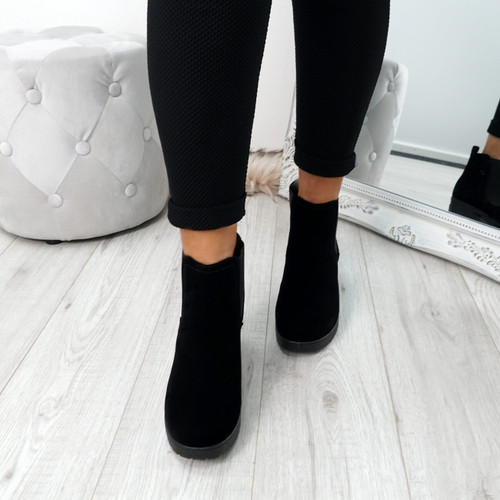 Zimka Black Suede Ankle Boots