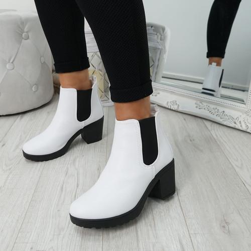 Zimka White Pu Ankle Boots
