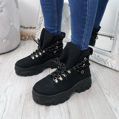 Cibba Black Nubuck Ankle Boots