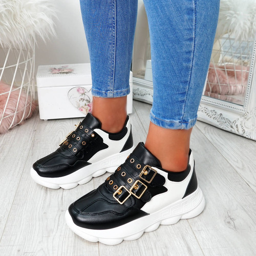 Aqona Black Buckle Trainers