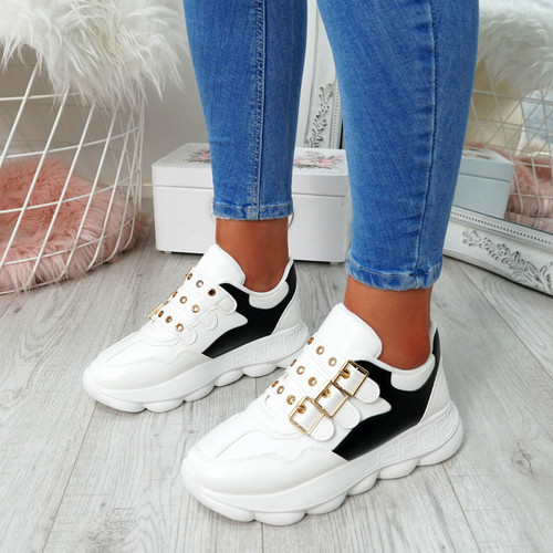 Aqona White Buckle Trainers