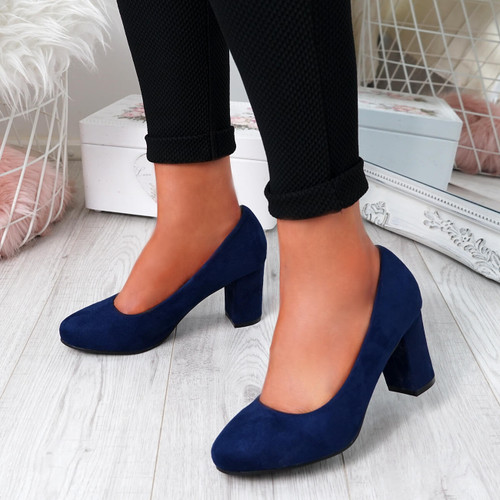Novia Dark Blue Slip On Court Pumps