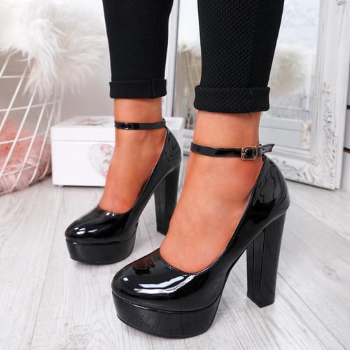 Onisse Black Patent Block Heel Pumps