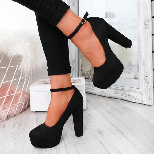 Onisse Black Suede Block Heel Pumps