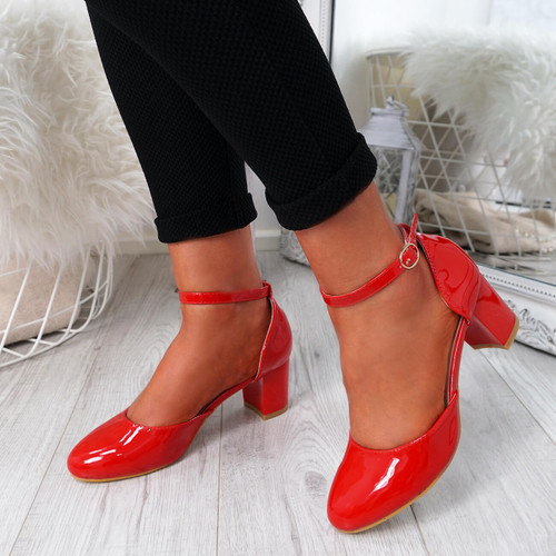 Menda Red Ankle Strap Pumps
