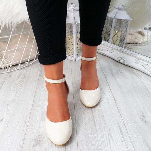Menda Beige Ankle Strap Pumps