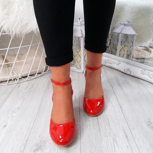 Wicca Red Block Heel Pumps