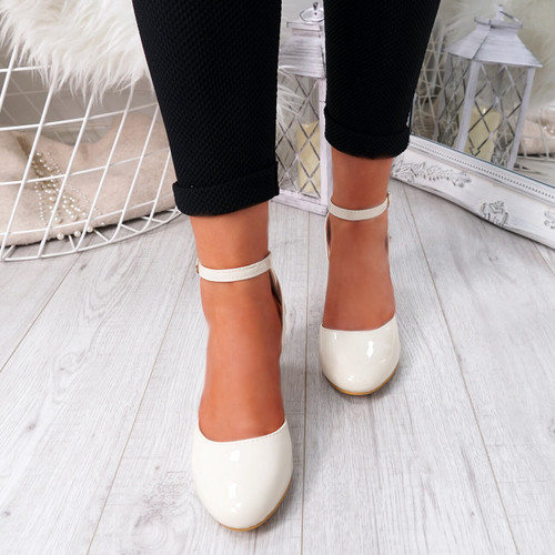 Wicca Beige Block Heel Pumps