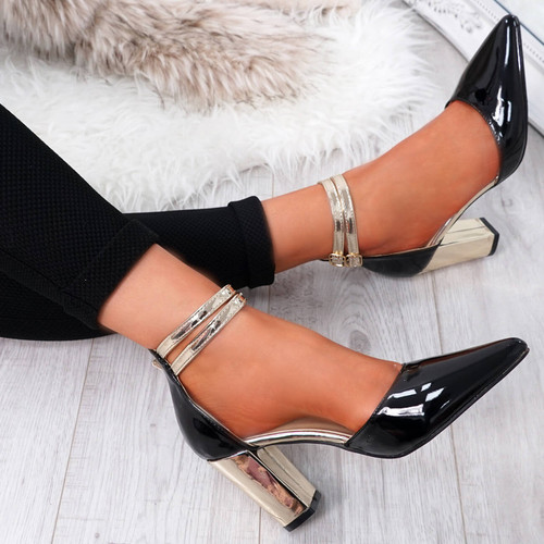 Glovva Black Gold Block Heel Pumps