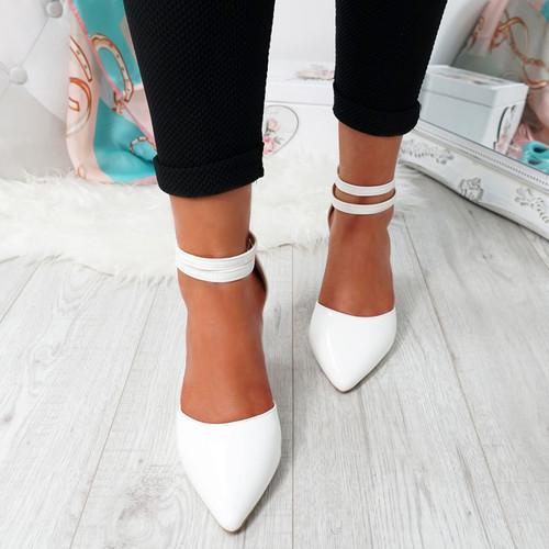 Erram White Block Heel Pumps