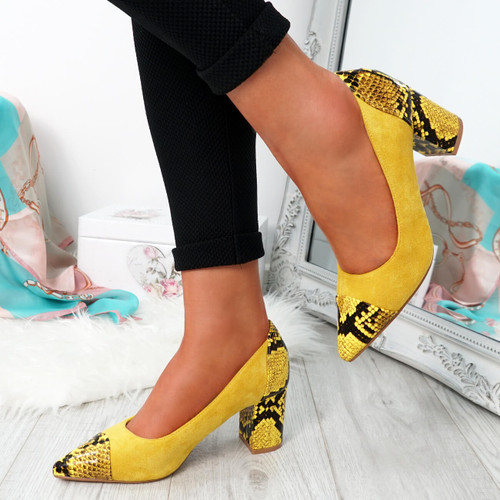 Fippo Yellow Sparkle Pumps
