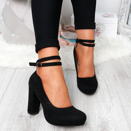 Eby Black Ankle Strap Pumps