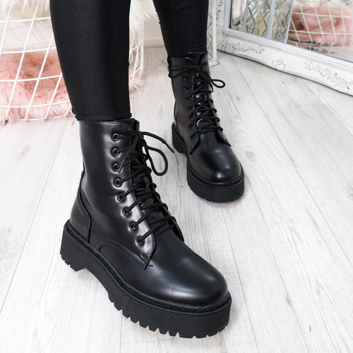 Tergy Black Lace Up Biker Boots