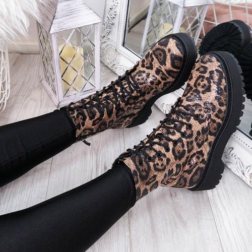 Tergy Leopard Lace Up Biker Boots