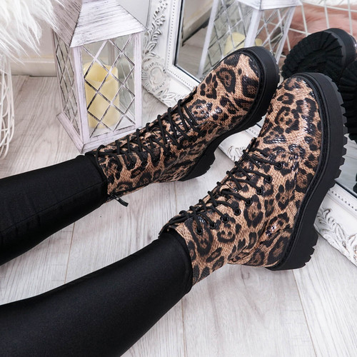 Tergy Leopard Lace Up Biker Boots