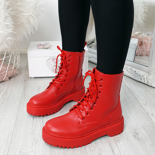 Tergy Red Lace Up Biker Boots