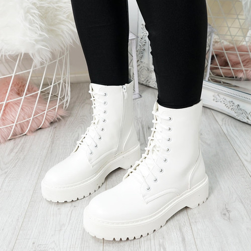 Tergy White Lace Up Biker Boots