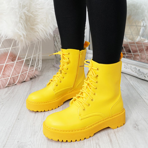 Tergy Yellow Lace Up Biker Boots