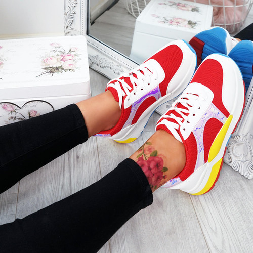 Jarre Red Lace Up Trainers