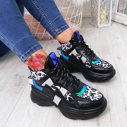 Jade Black Chunky Trainers