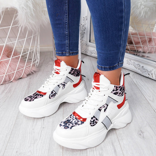 Jade White Red Chunky Trainers