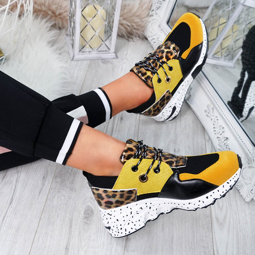 Infa Yellow Leopard Trainers