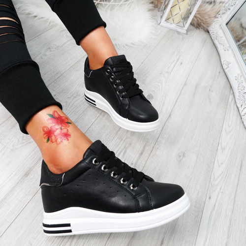 Kaya Black Lace Up Trainers
