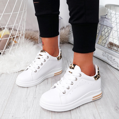Kaya White Leopard Lace Up Trainers