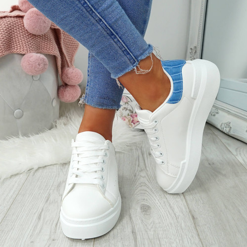 Lynva White Light Blue Croc Trainers
