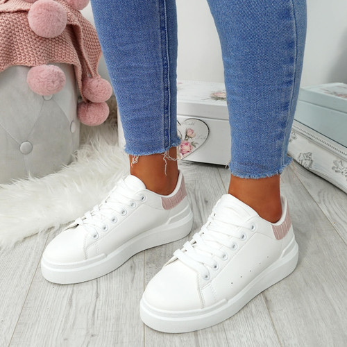 Lynva White Pink Croc Trainers