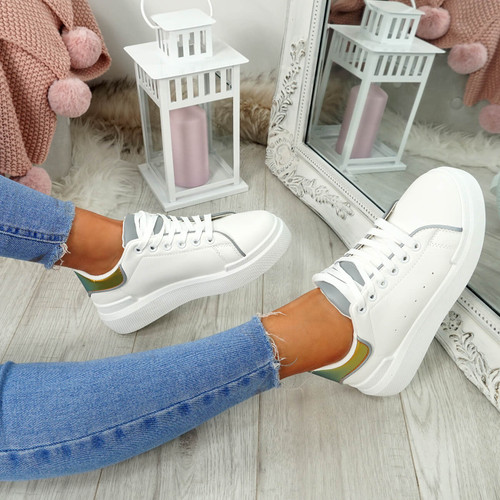 Zenya White Lace Up Trainers