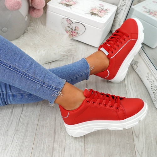 Elvem Red Lace Up Sport Trainers