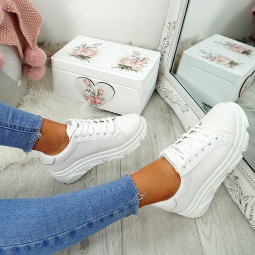 Elvem White Lace Up Sport Trainers