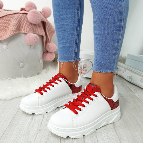 Elvem White Red Lace Up Sport Trainers