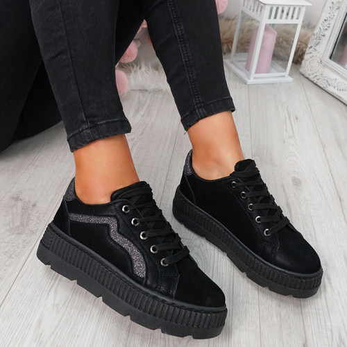 Luda Black Lace Up Trainers
