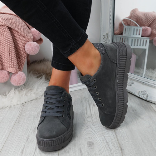Luda Grey Lace Up Trainers