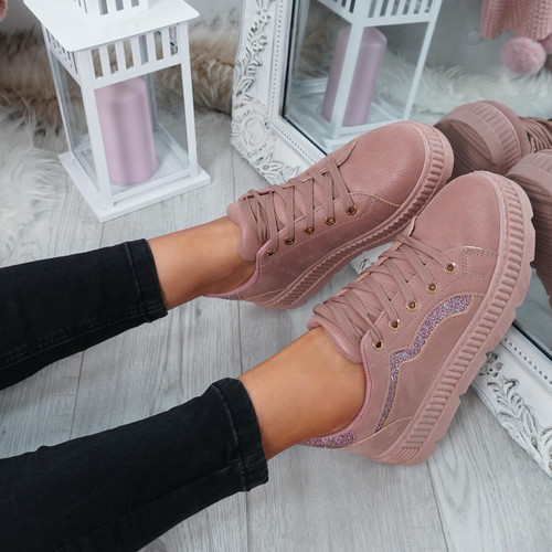 Luda Pink Lace Up Trainers