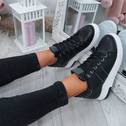 Ruppa Black Lace Up Trainers