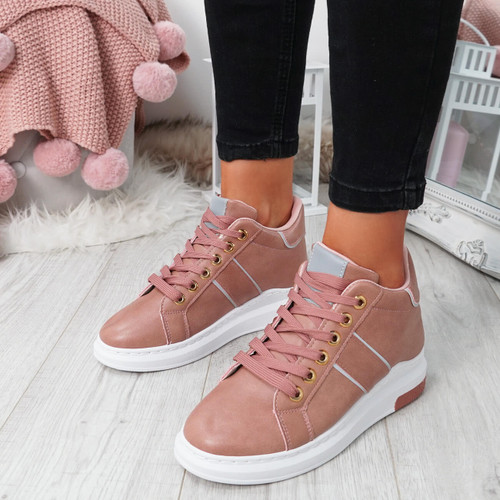 Ruppa Pink Lace Up Trainers