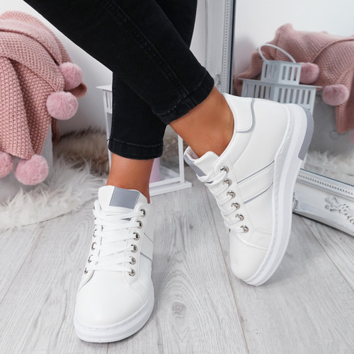 Ruppa White Lace Up Trainers