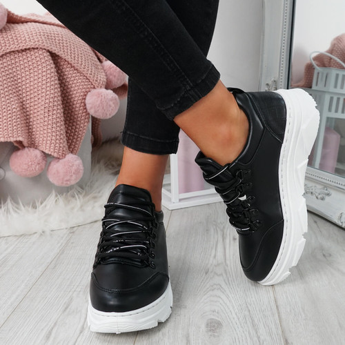 Rovna Black Lace Up Trainers