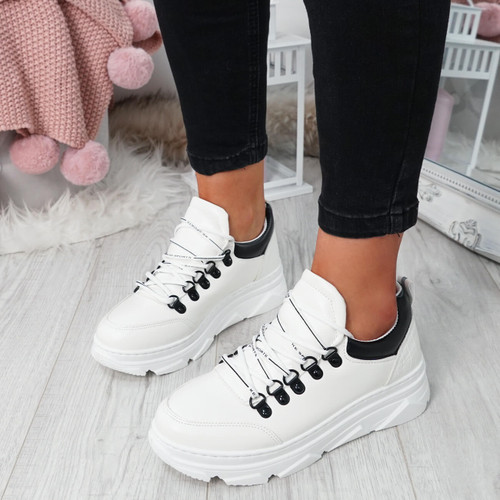 Rovna White Lace Up Trainers