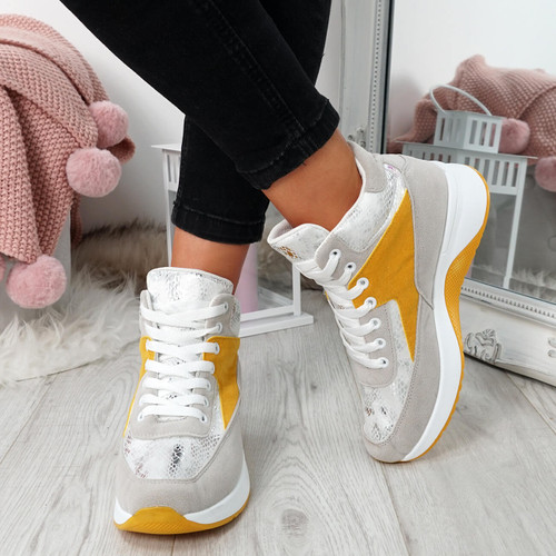 Onya Yellow High Top Chunky Trainers