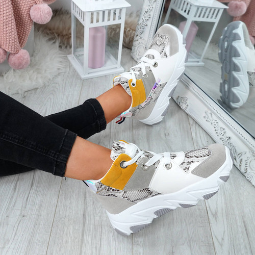 Della Yellow Chunky Trainers