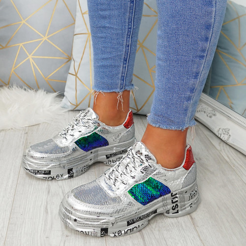 Heda Silver Glitter Chunky Trainers