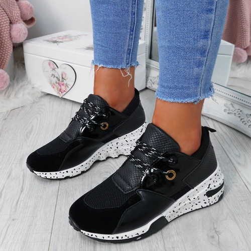 Esora Black Lace Up Trainers