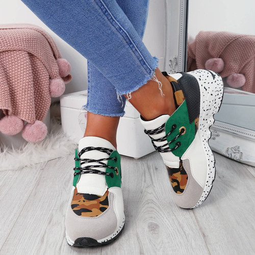 Esora Green Lace Up Trainers