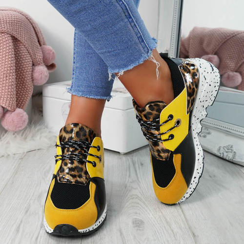 Esora Yellow Lace Up Trainers