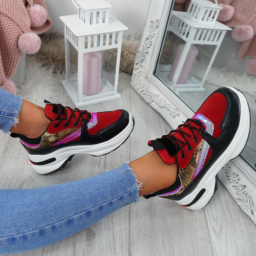 Kenza Red Chunky Trainers