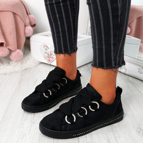 Lutte Black Lace Up Trainers